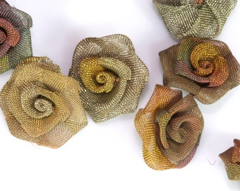 """4 pcs Steampunk Roses 5/8"""" (16mm) Altered Art Craft Supply Oxidized Brass Wire Mesh Rose Wire Flower for Jewelry Art R1079-14"""