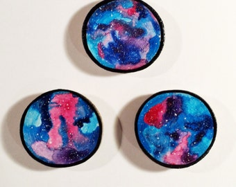 Galaxy Trio 002 - Watercolour Paintings on a Woodslices - Set of Three