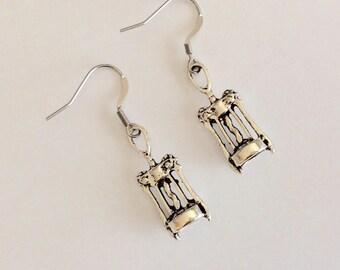 Corkscrew Earrings, Wine Opener, Gift for Her, Girlfriend Gift, Wine Lover, Silver Corkscrew Earrings, Hypoallergenic hooks,