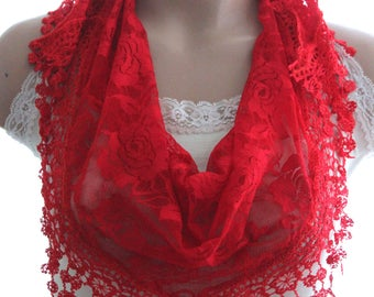 red lace scarves - fuchsia scarf - lace scarf -woman accessories - hair accessories  - spring scarves - summer scarves - lace shawl