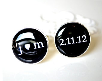 personalized cufflinks classic custom accessories black and white font inspired heirloom gift
