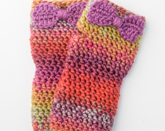 Fingerless Bow Gloves - Pink and Green
