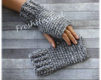 Warm Wool Fingerless Gloves Wrist Warmers Gray Ribbed Texting Keyboarding