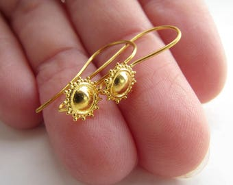 18k gold ear wires PAIR, solid 18 carat yellow gold findings, shepherds hooks granulation ornate designer connector component