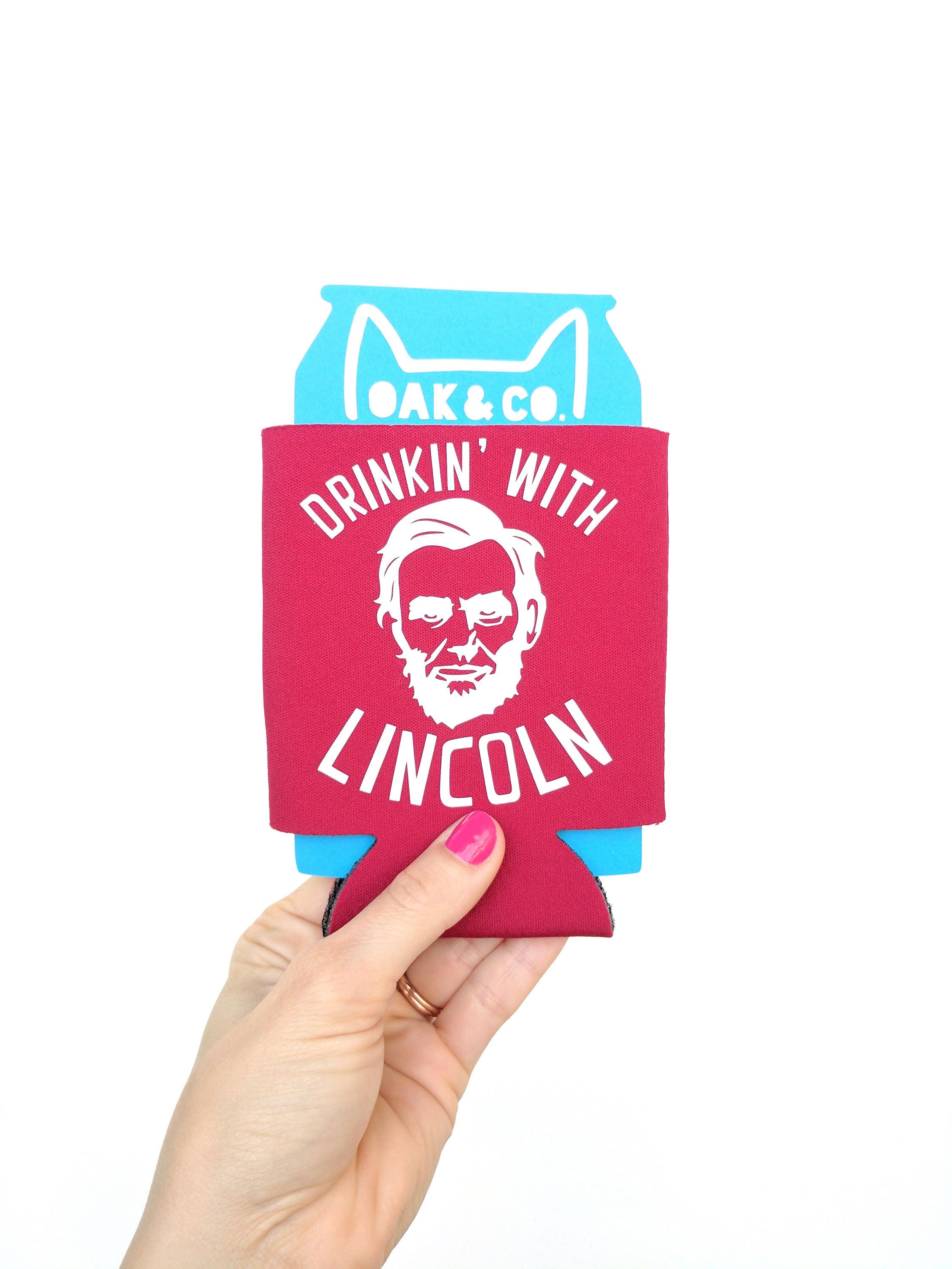Drinkin with Lincoln // Fourth of July Can Cooler // Custom