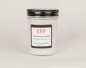Cranberry Woods Soy Candle, Cinnamon Candle, Patchouli Candle, Orange Candle, Cranberry Candle, Scented Candle, Glass Jar Candle