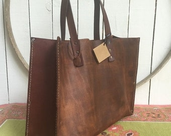 Summer Is Here Sale Distressed Brown  Leather Kodiak Oak Tote* Distressed Brown Leather Tote* Distressed Market Bag* Handmade in the USA
