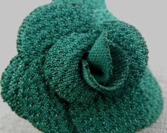 Bouton pression fleur en tissu verte