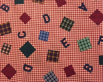 Vintage A B C Checked Fabric - Out of Print