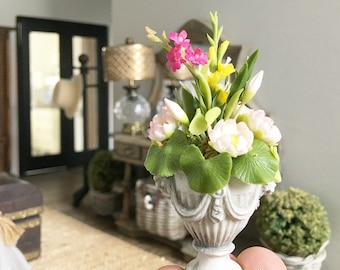 Miniature floral arrangement - mixed flowers in fench urn - Dollhouse - Diorama - 1:12 scale