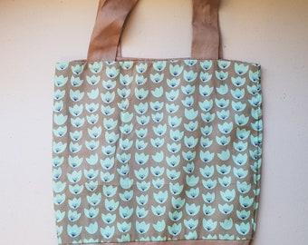 Handmade fully lined mini-tote bag - tulips print (brown)