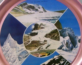 Glaciers Icefields ,Aluminum Souvenir Plate of the Columbia Jasper National Park of Canada