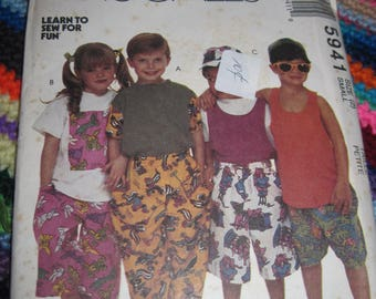 Vintage McCALLS Pattern #5241...sz 2 small...Childrens T shirt,Tak top,Pants,Shorts & Hat  ...90's... #132...