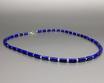 Lapis Lazuli and freshwater pearls - natural genuine Lapis Lazuli Necklace - blue and white jewelry - Statement Necklace - Christmas gift