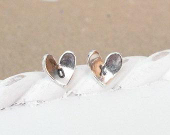 Sterling Silver Custom Heart Studs, Silver Studs, Heart Post Earrings, Hand Cut Heart Studs, Simple Studs, Bridesmaid Earrings