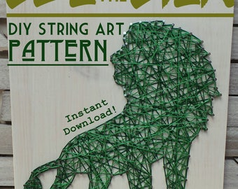 "String Art Pattern - Leo the Lion - 9"" x 8"""