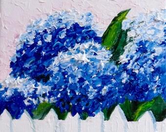 Hydrangeas Blue Original Oil Painting-Oil 8 x 8 -Canvas-Home Decor-Gift-Wedding Gift-Impasto-Cottage-Impasto-Clay Pots-Floral painting