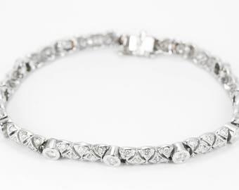 14K 2.15tcw Vintage Diamond Tennis Bracelet 14K, Art Deco diamond bracelet, diamond white gold bracelet, Art Nouveau Bracelet
