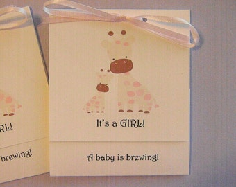 Baby Shower- Tea Bag Favors- It's a Girl - Momma and Baby Giraffe