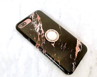 Ring Phone Grip - Rose Black Marble Case Set, iPhone and Samsung Galaxy Phone Holder, Stand