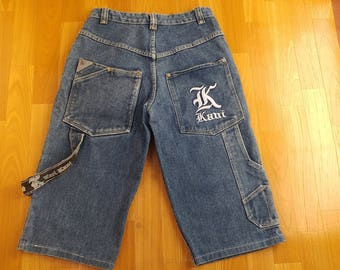 KARL KANI shorts, blue hip hop jeans denim shorts of 90s hip-hop clothing, old-school, 1990s, gangsta rap, vintage, OG size W 28