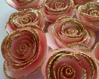 Pink and gold party etsy - Deco baby shower rose ...