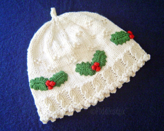 Hat Knitting Pattern - Girls Christmas Hat Pattern - the HOLLY Hat ...