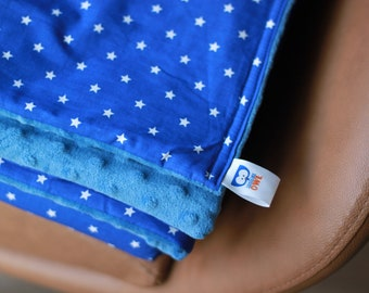 Blue/White Stars Weighted Therapy Blanket- all sizes and weight available