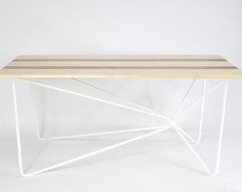 Modern Coffee Table - The Morningside Modern Coffee Table - Handcrafted White Metal Base with Maple and Walnut Top