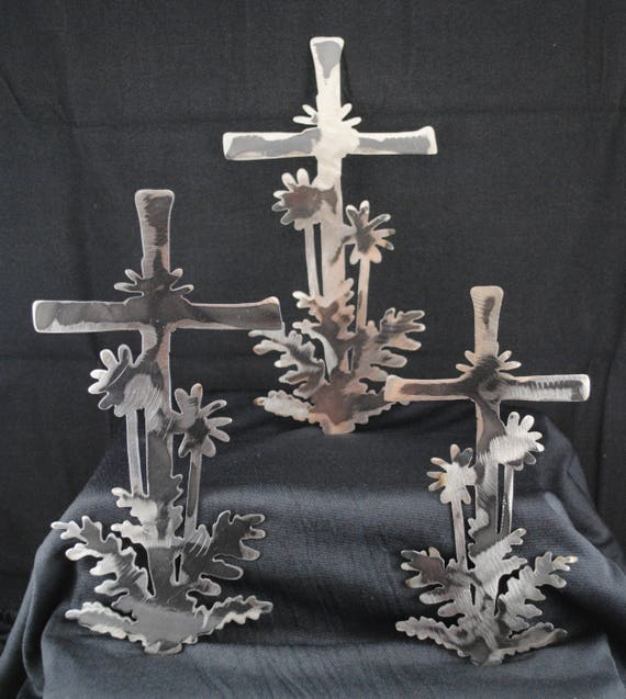 Cross with Palm Trees, Wall Hanging, Religious Art, Religion, Cross, Metal Cross, Easter Decor, Easter Decoration, Palm Tree, Metal Wall Art