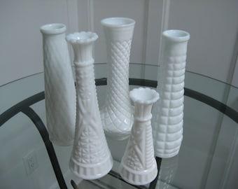 Milk Glass Bud Vases, Vintage White Milk Glass, Set of Five, Bud Vases, Wedding Decor, Farmhouse Boho, circa 1960's, Bridal Baby Shower