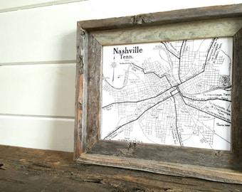 Farmhouse art Barnwood Framed Vintage Nashville Map