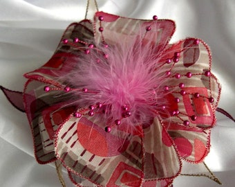 Large barrette flower fabric & feathers and pearls 255