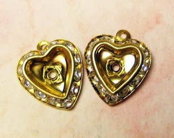 Vintage Rhinestone Hearts - Jewelry Finding