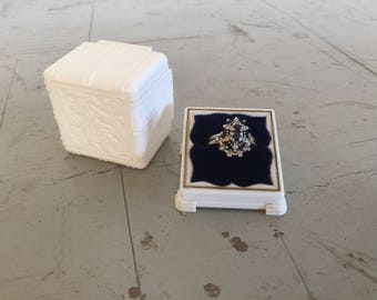 Vintage White Ring Box with Blue Velvet Interior