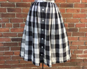 1950s Black and White Vintage Plaid Skirt
