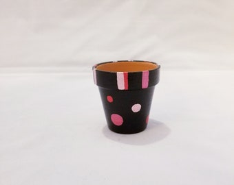 Pink And Black Polka Dot And Striped Terra Cotta Pot