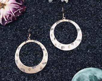 Corona earrings ~ handstamped raw brass