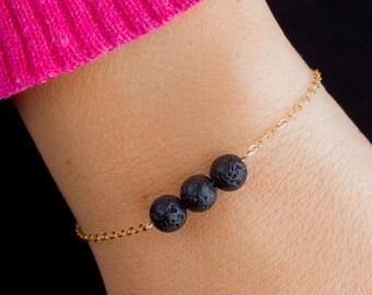 24k Infinity Lava Bead Essential Oil Diffuser Bracelet, Reversible, Triple Lava Bead, Dainty Gold Filled, Minimalist Aromatherapy Jewelry