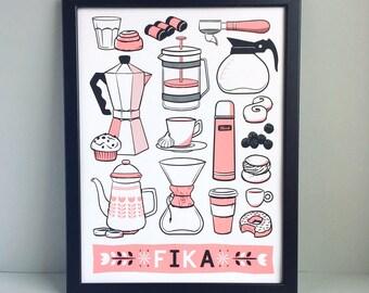 FIKA, Swedish poster print, Scandinavian print, coffee screen print, coffee poster, Scandi influence, Hygge print, Swedish influence