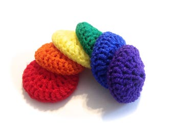 Rainbow Crocheted Nylon Netting Dish Scrubbies- Set Of Six