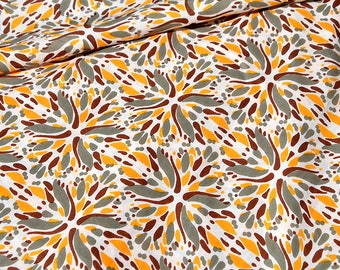 Organic Batiste cotton brown beige Grey orange floral pattern