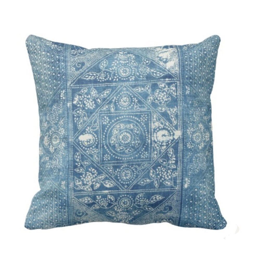 Well-liked Batik Printed Throw Pillow/Cover, Indigo 16, 18, 20 or 26 Square  CT04