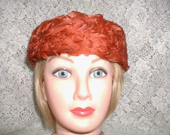 Feather Pillbox Hat of Rust Colored Curled Feathers.....Vintage Curled Turkey Feather Pillbox Hat