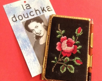 French 1950s Vintage Travel Pocket Notebook Notepad & Attached Pen - Rosebud Embroidery Tapestry - Unused - MADE IN FRANCE - New