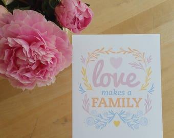 Love Makes a Family- Cool Lavender Sherbet Digital Art-Print, Printable Home Decor- Scandi with flower and vine motif