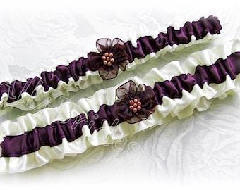 Eggplant bridal garter set, wedding leg garter belt set.  Keepsake and toss bridal garters.