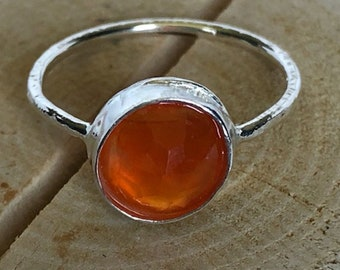Faceted Orange Carnelian Sterling Silver Ring