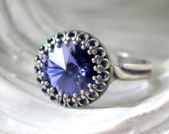 Tanzanite Ring   Silver Princess Ring   Swarovski   Adjustable Antique Silver Ring   Victorian Crown   Bridesmaid Jewelry   Gift For Her