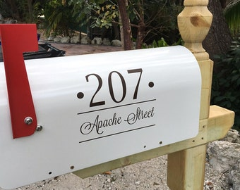 Mailbox Vinyl Decal Set of Two Modern mailbox Custom Personalized Address Street Name Wall Mount box rural mailbox Curb Appeal Ideas